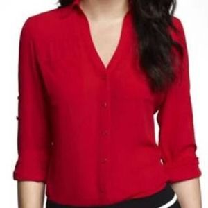 """EXPRESS """"The Essential"""" Red V Neck Button Down"""